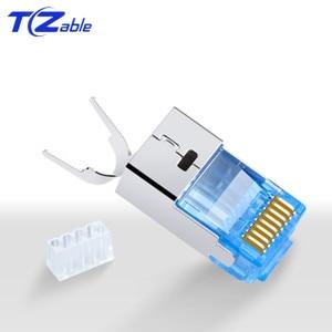 Image 1 - RJ45 konektörü 10Gbps CAT7 Ethernet ağ kablosu adaptörü saf bakır kalkan konnektörler altın kaplama 50U 8p8c Metal modüler fiş