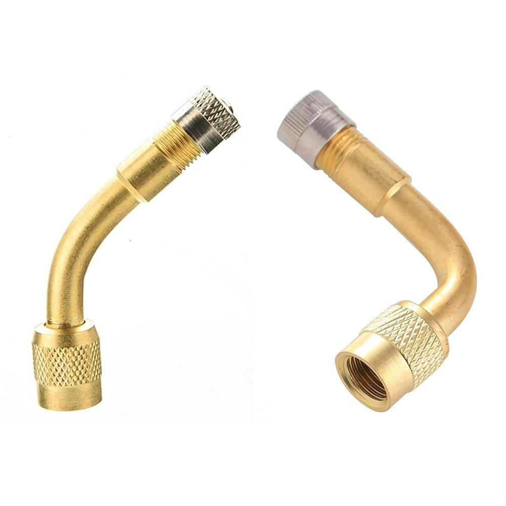 Brass 90 Degree Angle Valve Stem Extension Tube Rod For Bike Bicycle Car Tire