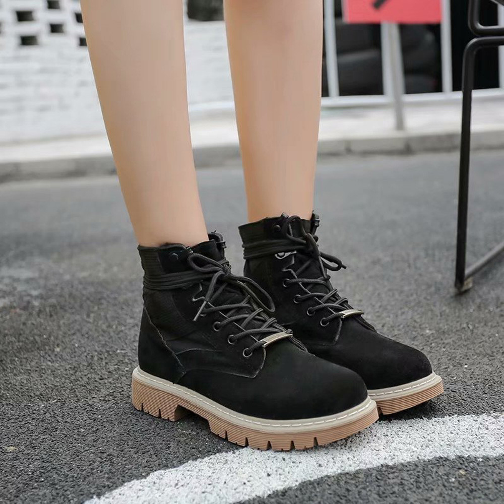 Fashion Winter Women Flat With Round Toe Suede Shoes Flat Booties Lace Up Martin Ankle Boots Leisure Shoes trendy women s flat shoes with round toe and tassels design