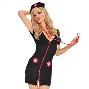 Black Nurse Uniform Sexy Lingerie Cosplay Lady Nurses Cosplay Costumes Sexy Underwear Set Exotic Apparel Lingerie Hot Intimates(China)