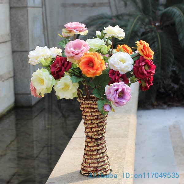1 PCS Beautiful Fake Artificial flower Silk Spring Rose Wedding Bouquet Home Decoration F296