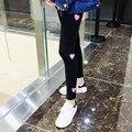 Harajuku 2017 mujeres del otoño Del estilo de Corea ulzzang bromista corazones Leggings mujer kawaii lindo leggings Elásticos
