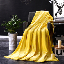 Multi-Size Blanket On The Bed,Soft Autumn/Spring Fleece Blanket For Sofa,Yellow Flannel Blanket,Warm Solid Color Bedspread