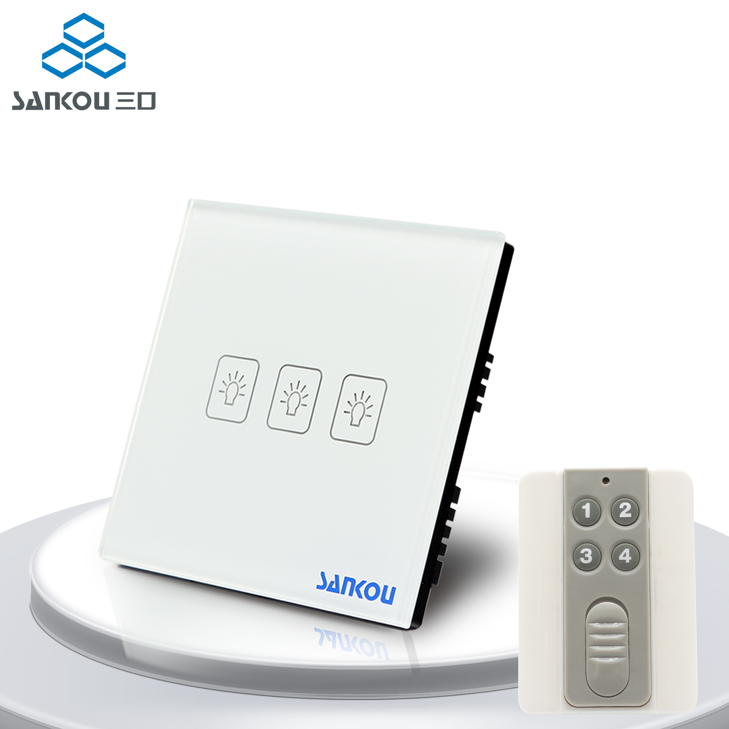 UK Standard SANKOU Remote Wall Switches with Controller 3Gang1Way 50HZ/60HZ Remote Light Switch 220V with LED Indicator 3gang1way uk wall light switches ac110v 250v touch remote switch