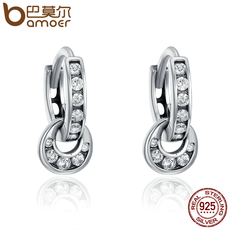 BAMOER 925 Sterling Silver Double Circle Dazzling CZ Round Hoop Earrings for Women Sterling Silver Jewelry Bijoux Gift SCE139 personality women creole earrings fashion jewelry silver small circle hoop earing set of 9 pairs bijoux statement hoop earrings