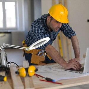 """Image 5 - Led拡大鏡テーブルランプ金属クランプスイングアームデスク無段階調光3色7ワット拡大鏡ライト3X、4.1 """"直径レンズ建築家"""