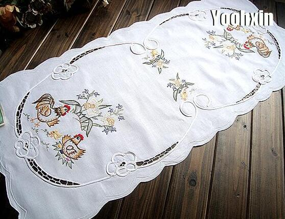 Modern Embroidered Bed Table Runner Cloth Cover Flag Towel Mantel Nappe Lace Tea Tablecloth Party Christmas Easter Wedding Decor