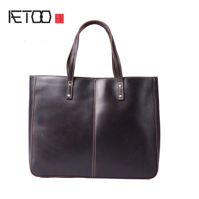 AETOO The first layer of leather shoulder bag and simple large shopping bags Tottenham Tote Commuter Bag with large capacity fashion litchi pattern the first layer of leather commute commuter shell bag lock shoulder diagonal wild female bag