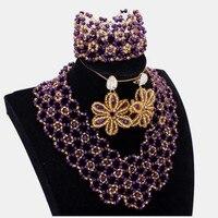 DUDO JEWELRY Fashion Purple Bridal Necklace Set Wedding Nigerian Jewellery Set For Women Choker Set 2018 Flower Earrings New