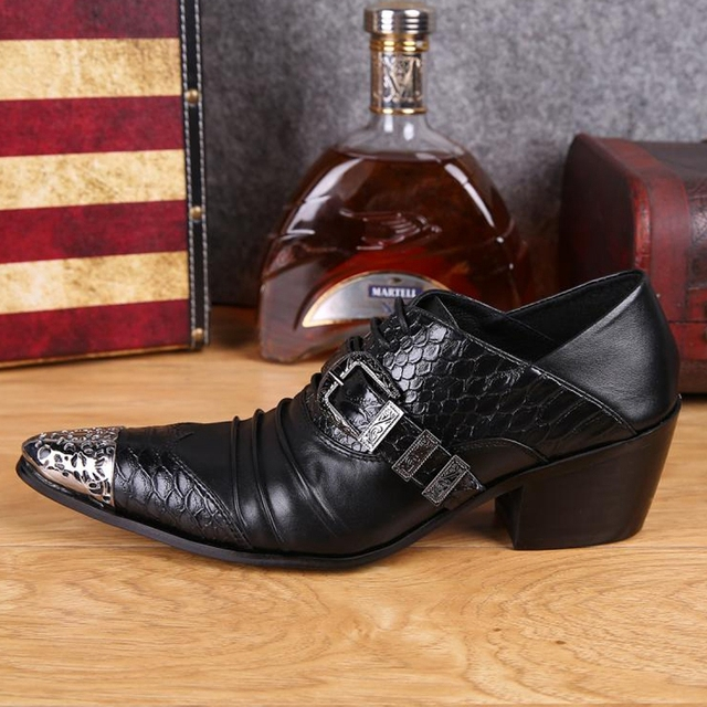 Plus Size Fashion Pointed Toe Man Metal Tipped Oxfords High Heels Genuine Leather Men's Formal Dress Party Banquet Shoes SL270
