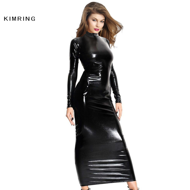 Kimring Black Pvc Dress Sexy Wet Look Style Long Sleeves Dress Nightclub Clubwear Party Punk Dress