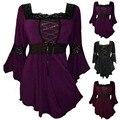 Retro Vintage Womens Ruffle Dress Gothic Gown Tunics Lace Up Shirt Dress Female Robe Plus Size Long Sleeve Party Dresses 4XL 5XL