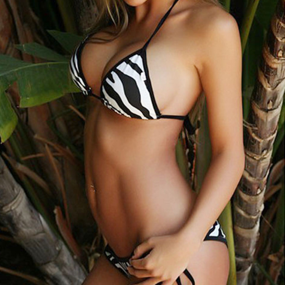 HW2016 New Sexy Bandage Swimwear Zebra Striped Bikini Bandage Push Up Padded Women Bathing Swimwear Swimsuit