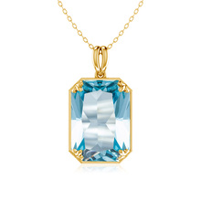Szjinao gold  Pendan Necklace For Women Christmas present  Fine viking Birthstone Aquamarine silver 925 jewelry szjinao cute genuine 100