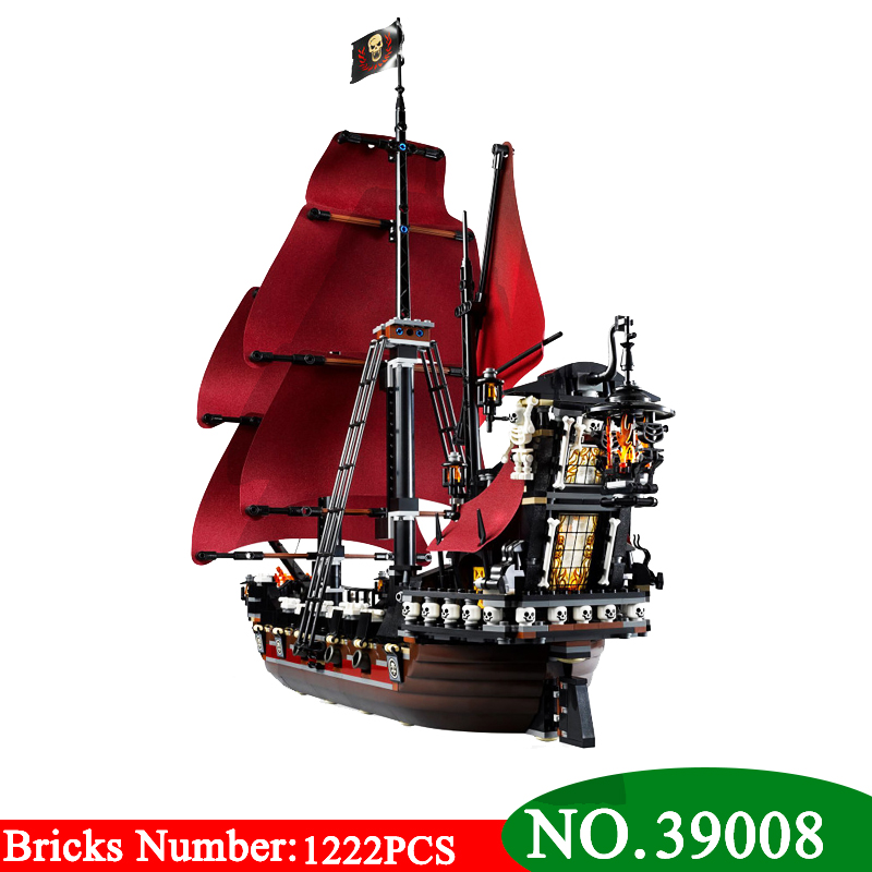 New 39008 Pirates Series The Queen Annes Revenge Model Building Blocks Set 4195 Classic Pirate Ship Toys For Children