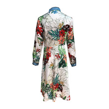 Fashion women's bowtie long sleeves dress New 2019 spring summer runways floral print embroidered pearls dress A139
