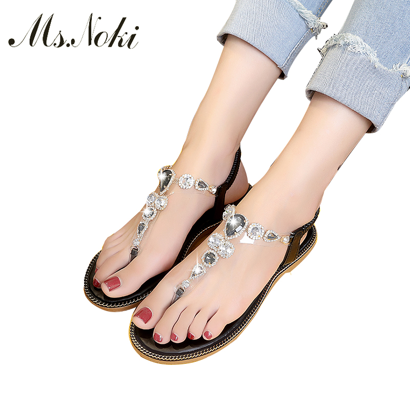5c79a0238bcc Women crystal flat Roman elastic band Sandals Shoes Woman Casual quality  Cross Strap Ethnic Flip Flop Flat Sandals Ms.Noki-in Low Heels from Shoes  on ...