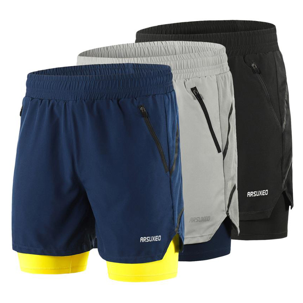 Mens 2 In 1 Running Shorts Men Sports Shorts Quick Dry Fitness Training Gym Sport Shorts Joggers Short Pants
