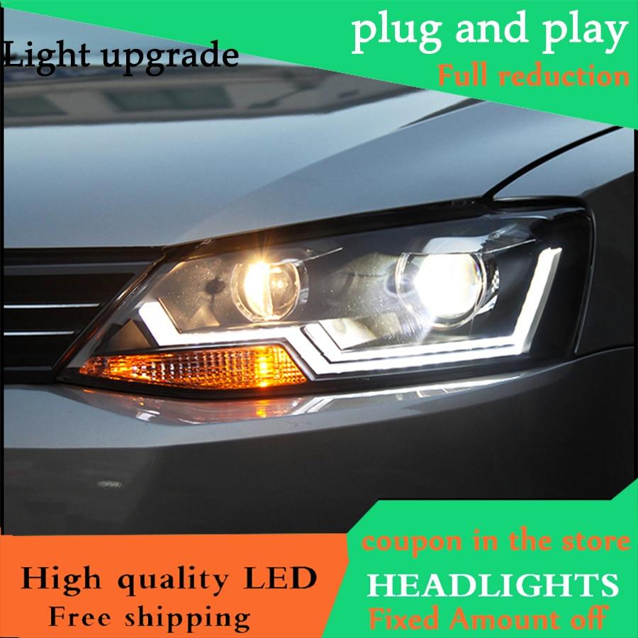 Us 516 0 14 Off Aliexpress Com Buy Car Styling Head Lamp Case For Vw Jetta Mk6 2012 2016 Headlights Led Headlight Drl Daytime Running Light Bi