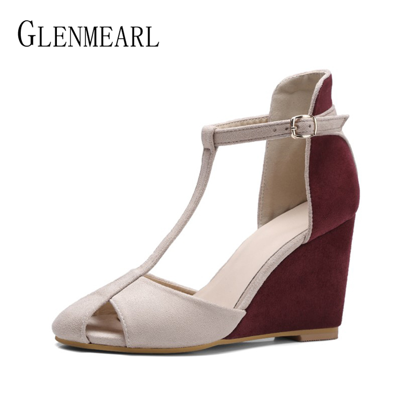 Shoes Women Pumps High Heels T-Strap Dress Shoes Woman Wedges Heels Spring Ladies Party Shoes Summer Round Toe Cutout Red BlueDE