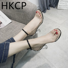 HKCP 2019 summer new transparent buckle with chunky open toe sandals crystal temperament high heels C401