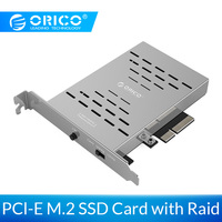ORICO PCl E M.2 SSD Card with Raid Support RAID0, RAID1, AHCI Up to 10Gbps M.2 PCI E SSD RAID X8, X16 slots For Windows ,Linux