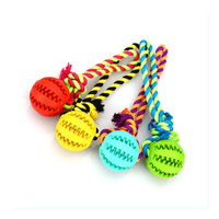 Molto Divertente Cane di Gomma Palla Con Foro di Cotone Con La Corda Nodo giocattoli Per Cani Chew Giocattoli Sicuri Formazione di Gioco Per La Dentizione Cani