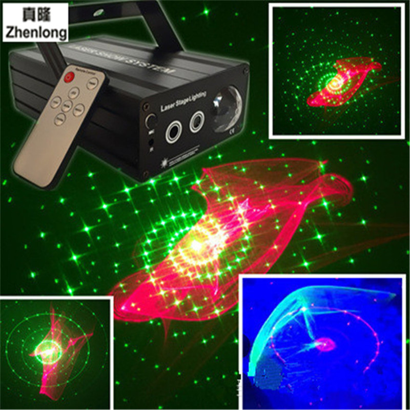 LED Laser Stage Lighting RGB Mini Laser Projector Red 200mw Green 100mw Light Effect Show for DJ Disco Party Lights Pattern Lamp zjright 360 degree rotation red green laser stage light full color projector led lighting concert party disco dj effect lighting