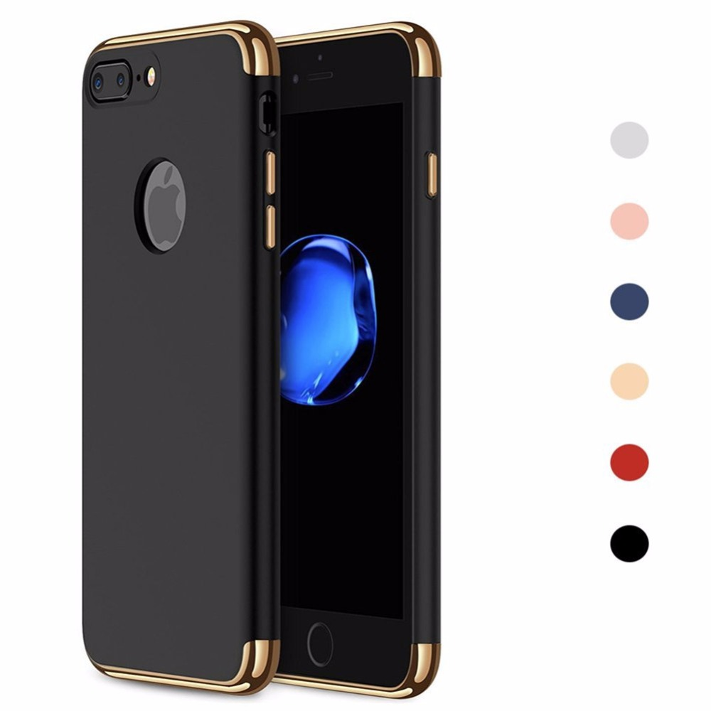 Ultra Thin Removable 3 in 1 Phone Case for iphone 7 8 6 6S Plus Hard PC Protective Shell Back Cover for Apple iPhone X 5 S 5S SE