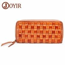 Купить с кэшбэком JOYIR Genuine Leather Women Wallets Female Long Clutch Lady Wallet Portemonnee Woven Luxury Money Bag Magic Zipper Coin Purse