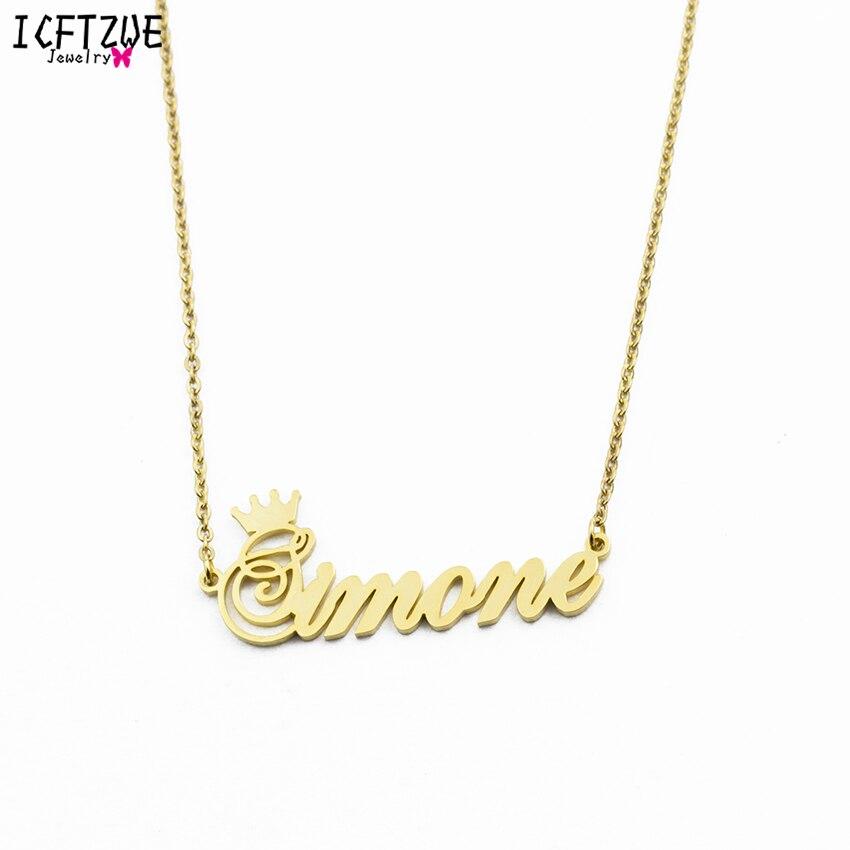 Acero inoxidable Erkek Kolye oro rosa cualquier cursiva corona hecho a mano nombre collar mujeres personalizada placa collar regalo de cumpleaños
