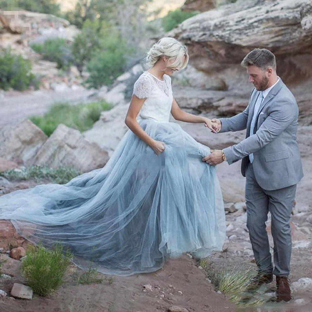 Pas cher haute qualité blanc une ligne de mariage robe de mariée bleu ciel dentelle mariée Dres manches courtes une ligne romantique Vestido Novia