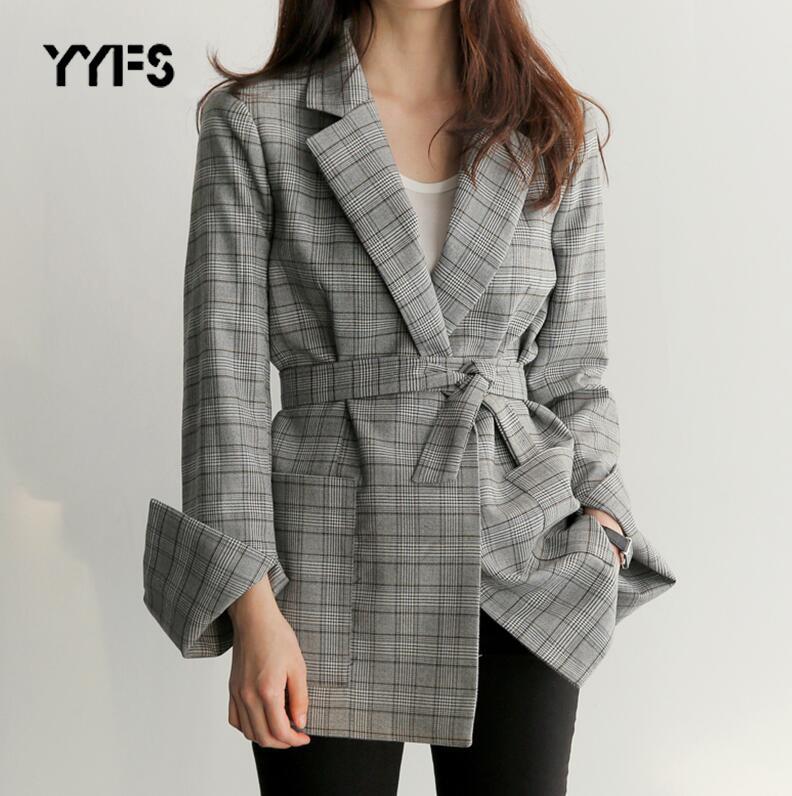 Blazer Mujer 2019 Womens Gray Plaid Office Blazer Autumn Fashion Bow Sashes Split Sleeve Jackets Elegant Work Blazers Feminino