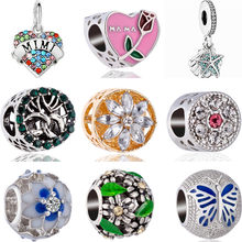 Small Pendant Alloy Beads Enamel Key Dog Bear Butterfly Flowers Crystal Charms Beads Fit Pandora Bracelets for Women DIY Making(China)