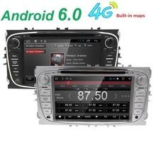 Doble 2 Din Android 6.0 Quad Core 1024*600 Coches Reproductor de DVD GPS Navi Para Ford Focus Mondeo Galaxy 3G Unidad Principal de Radio Estéreo de Audio