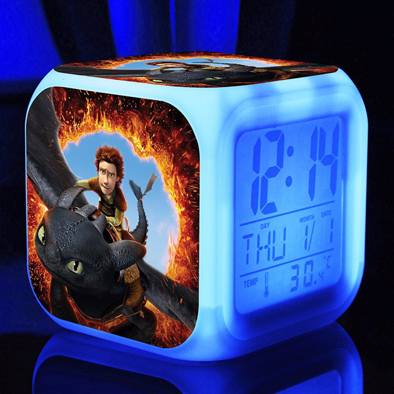 How to Train Your Dragon Alarm Clock 7 Color Glowing LED Digital Alarm Clock For Kids Room Multifunction Touch Sensing Clock