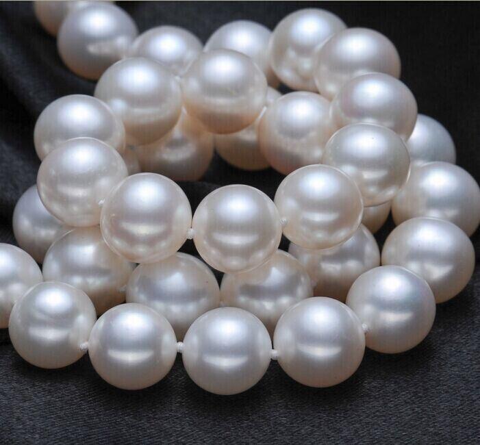 Freies verschiffen Freies verschiffen 10 11mm echte südsee weiße perlenkette 18 inch-in Halsketten aus Schmuck und Accessoires bei  Gruppe 1