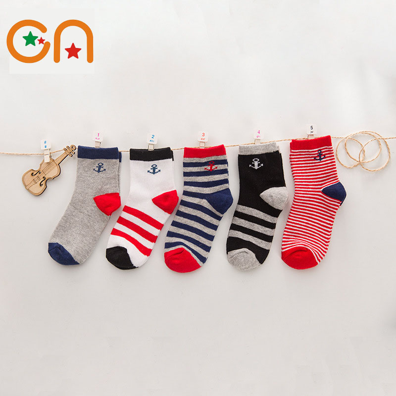 3-9 yrs 5pairs/lot Spring / Autumn new Kids Boy Girl fashion Cotton navy style Antibacterial Children socks baby stripe socks CN