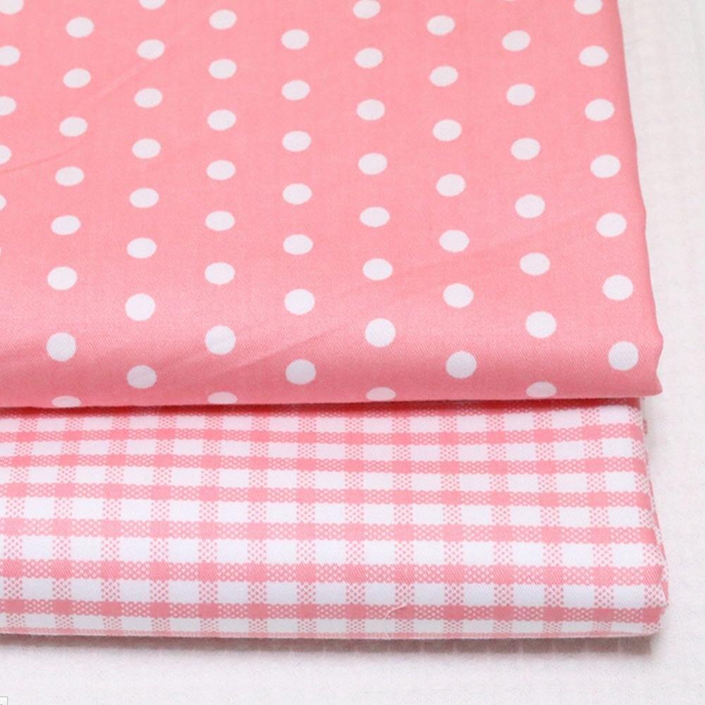 Beautiful 100% Cotton Twill Fabric Pink Polka Dots Lattice Check Tissue Diy For Kids Bedding Sheet Doll Dress Homework Quilting Cloth Tela