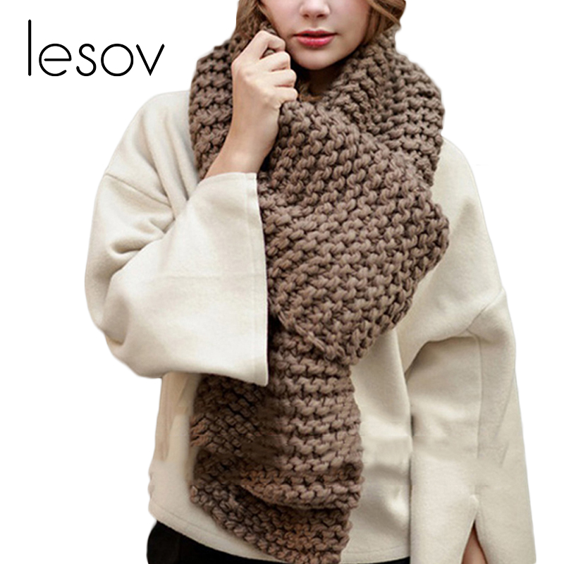 Lesov 200*30cm Rough Knitted Scarves Women Luxury Thick Warm Winter Scarf Wraps Shawl Crochet Collar Scarf Stole Shain Foulard