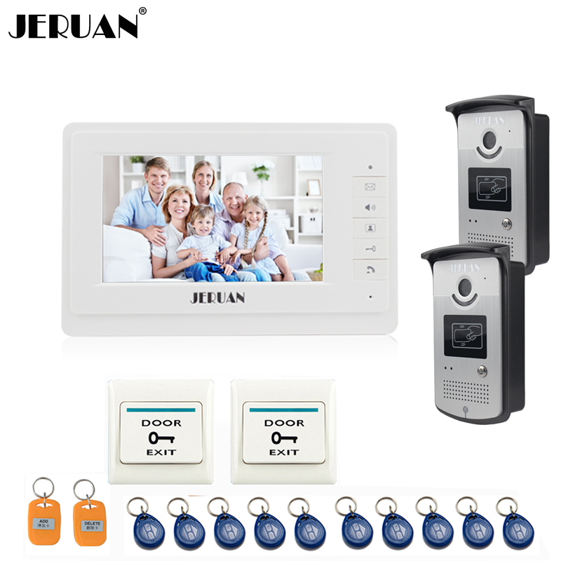 JERUAN 7 inch video door phone intercom system access control system 10RFID doorbell speaker intercom 300m wireless 7 inch video door phone wireless intercom system access control