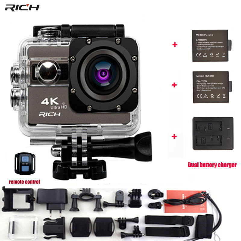 Action Camera 4K 24fps wifi Waterproof 30M 170 Angles Adjustable 1050mah battery F68R Remote Control Extreme Sports Camera soocoo c30 sports action camera wifi 4k gyro 2 0 lcd ntk96660 30m waterproof adjustable viewing angles