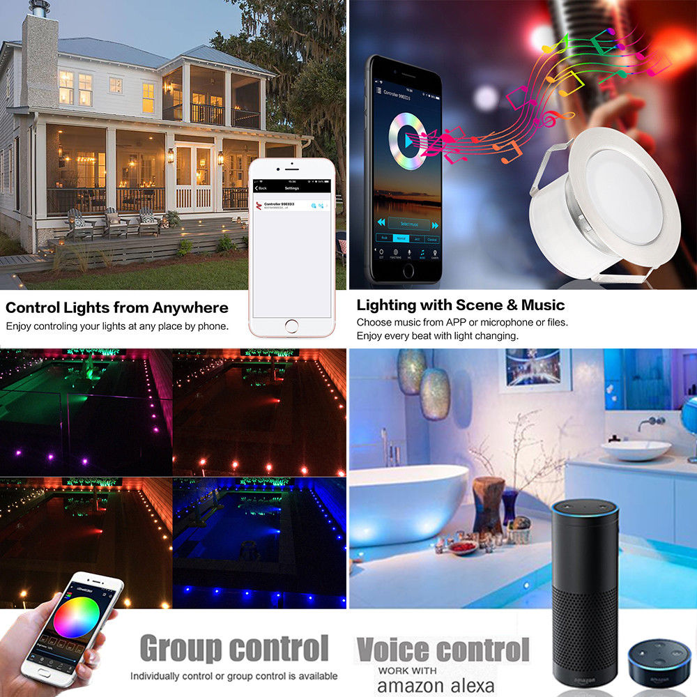 Image 3 - 6pcs/lot Smart WIFI Phone APP Control RGB/RGBW 31mm 12V ip67 Kitchen Stair Step LED Deck Rail Lights for Alexa Echo Google Home-in LED Underground Lamps from Lights & Lighting