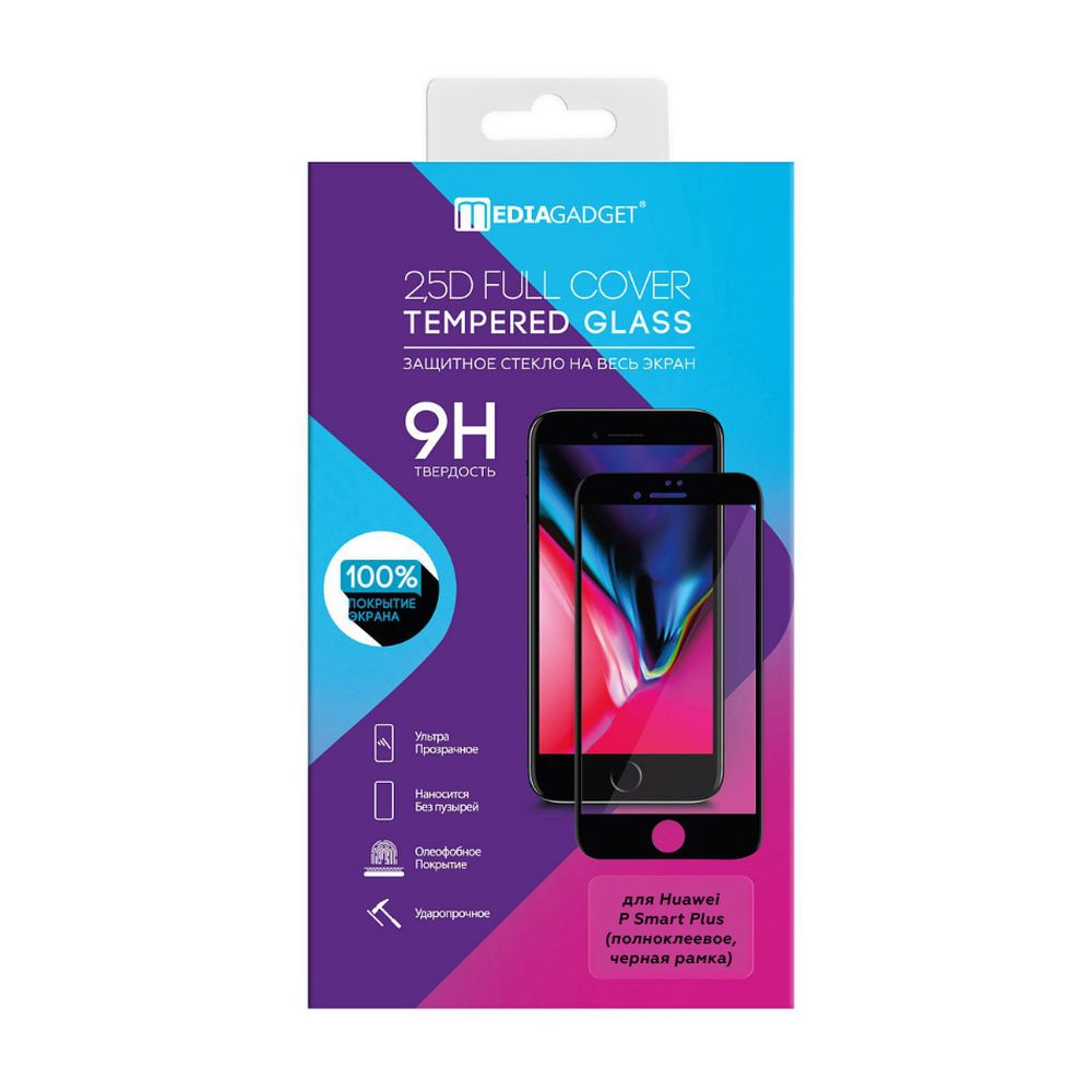 Screen Protectors MEDIAGADGET MGFCHPSPBK Safety glass colored frame tempered glass full glue cover color edge аксессуар защитное стекло для huawei p smart plus media gadget 2 5d full cover glass black frame mgfchpspbk