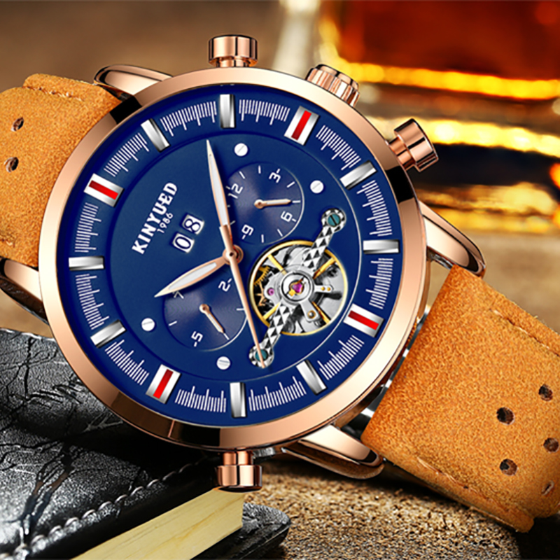 KINYUED Luxury Fashion Brand Mechanical Watch Men Leather Man Clock Calendar Multifunctional Tourbillon Automatic Mens Watches man automatic mechanical watches burei fashion brand male luxury clock calendar sapphire steel band 50m waterproof watch mens