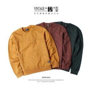 Image 1 - SIMWOOD 2020 spring New Hoodies Men Fashion Vintage Sweatshirts Plus Size Brand Clothing 100% Cotton Pullovers Streetwear 180611