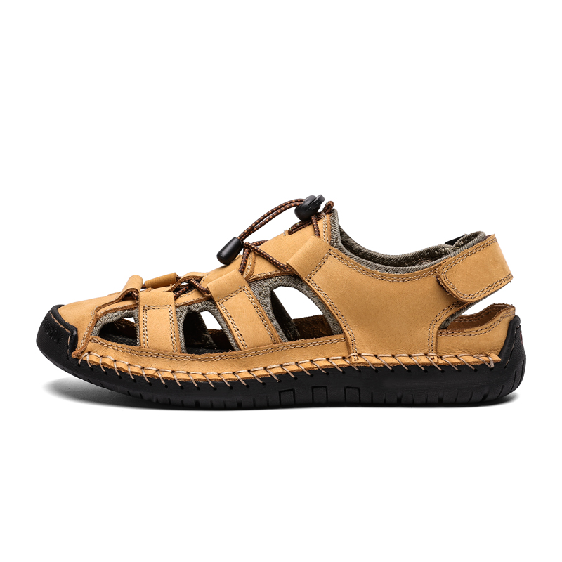 Men Leather Beach Summer Sandals New Large Size Mens  Footwear Outdoor Sandals Fashion Sandals Slippers Big Size 38-48 2019Men Leather Beach Summer Sandals New Large Size Mens  Footwear Outdoor Sandals Fashion Sandals Slippers Big Size 38-48 2019