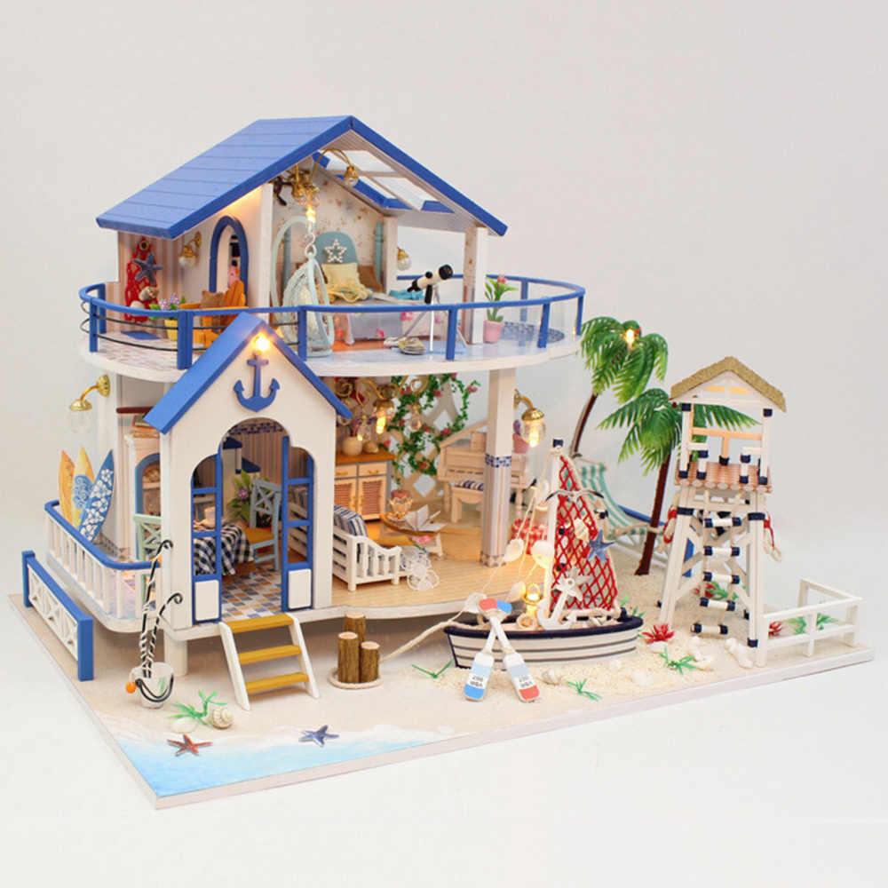 ミニチュア Diy ドールハウス木製ミニチュア手作りドールハウス家具キットための手作りおもちゃ子供少女ギフト伝説ブルー海