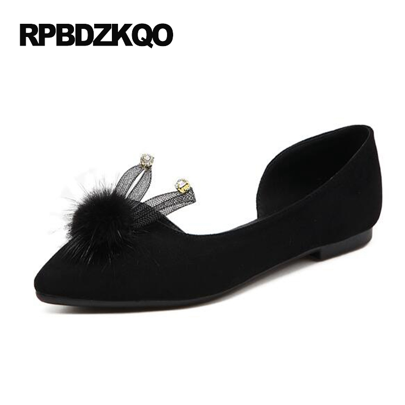 Pointed Toe Fur Japanese Flats Slip On Suede Cheap Shoes China 2017 Rhinestone Women Black Rabbit Ladies Sandals Fashion Spring new 2017 spring summer women shoes pointed toe high quality brand fashion womens flats ladies plus size 41 sweet flock t179