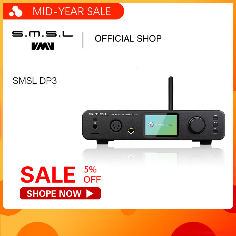 SMSL DP3 ES9018Q2C DAC USB Decodificador Amplificador Equilibrado Bluetooth4.0 LAN Rede WIFI DSD Digital Coaxial/Optical Audio DAC AMP